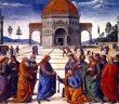 http://en.wikipedia.org/wiki/Confession_of_Peter#mediaviewer/File:Christ_Handing_the_Keys_to_St._Peter_by_Pietro_Perugino.jpg